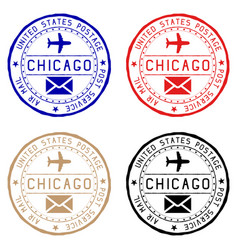 Chicago mail stamps colored set of round impress vector