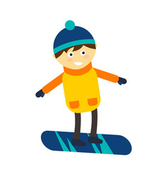 Christmas boy snowboarding playing winter game vector