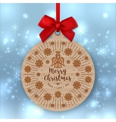 Christmas card kraft paper gift tag red bow vector