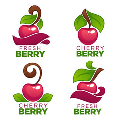 collection of juice stickers and cherry berry vector image vector image