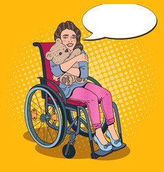 Disabled handicapped girl in wheelchair pop art vector
