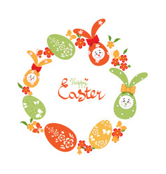 easter background with wreath of easter eggs vector image