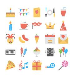 flat icon set of birthday vector image