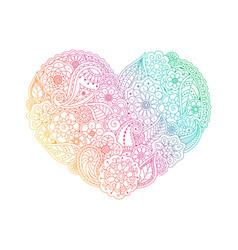 Gradient heart shape of floral doodle elements vector