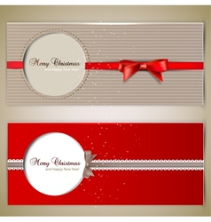 Greeting cards with bows and copy space vector image vector image