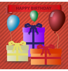 happy birthday red theme with gifts and balloons vector image vector image
