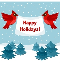 Happy holidays greeting card with birds red vector image