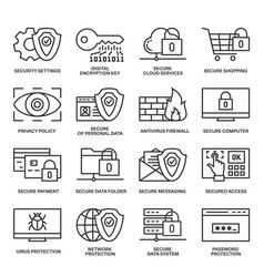 internet security information protection icons vector image