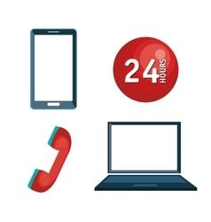 Laptop customer service call center design vector