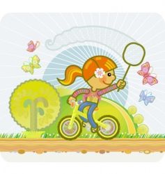 little girl on a bicycle vector image