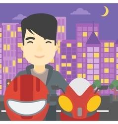 Man in biker helmet vector image vector image