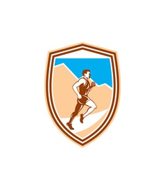 Marathon runner running side view retro vector