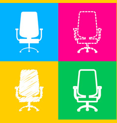 Office chair sign four styles of icon on four vector