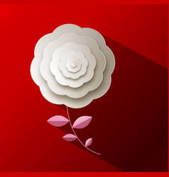 paper rose flower on red background vector image vector image