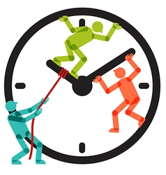 People team stopping clock arrows vector