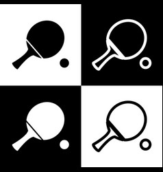 Ping pong paddle with ball black and vector