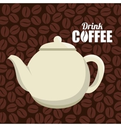 pot white cofffe beans graphic vector image