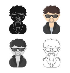 Rock star cartoon icon for web and vector