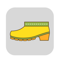 Rubber boots protective shoes flat color icon or vector