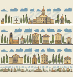 Seamless horizontal ornament old european city vector