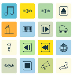 Set of 16 audio icons includes dance club vector