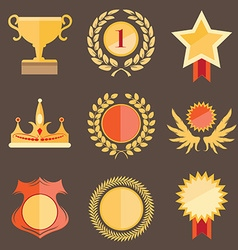 Set of golden award icons vector image vector image