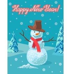 snowman outdoor Greeting vector image