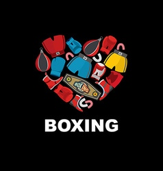 Symbol of the heart of boxing gear helmet shorts vector
