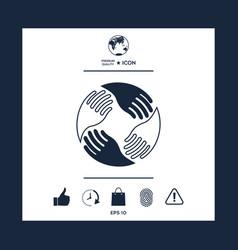 teamwork hands human connection logo vector image vector image