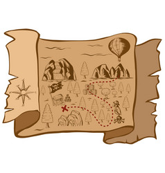 treasure map on brown paper vector image vector image