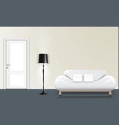 white wall background with a floor lamp and white vector image vector image