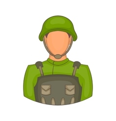 Soldier icon in cartoon style vector