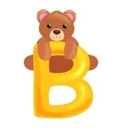 Bear letter with animal for kids abc education in vector
