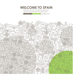 Spain doodle website template design vector