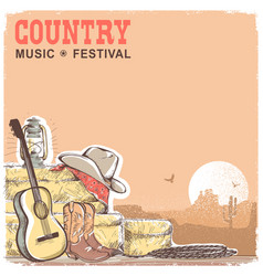 Country music background with guitar and american vector