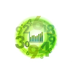 Numbers circle green with graph vector