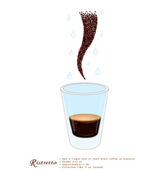 Single ristretto coffee in a shot glass vector