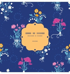 Fresh flower bouquets frame seamless pattern vector