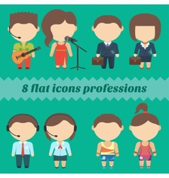 Flat icons professions set of male and female vector