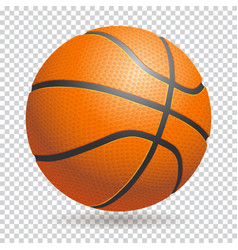 3d basketball isolated ball on transparent vector