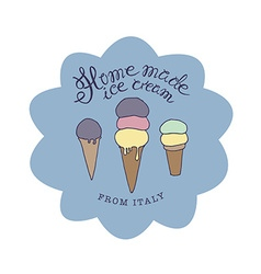 Hand drawn sketched of hand-made ice cream vector