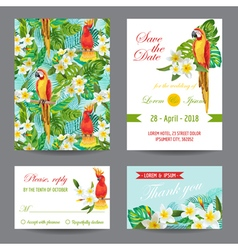 Invitation or greeting card set - tropical birds vector