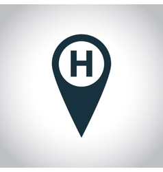 Hospital map marker icon vector