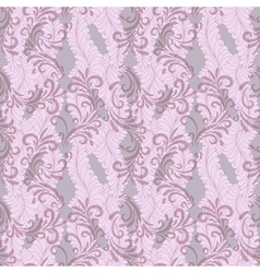 Seamless gentle pink-grey floral pattern with tran vector