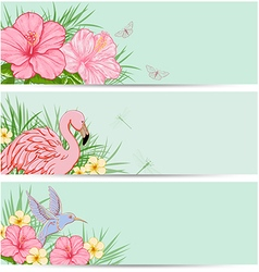 Horizontal tropical banners with flowers vector image