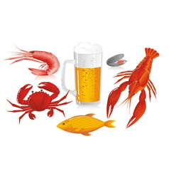 Mug of beer and snack to beer - seafood vector