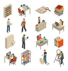 Documents archive library isometric icons set vector