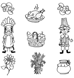 Doodle of thanksgiving food and people vector