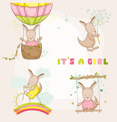 baby girl kangaroo set - for baby shower cards vector image
