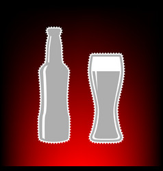 beer bottle sign postage stamp or old photo style vector image vector image